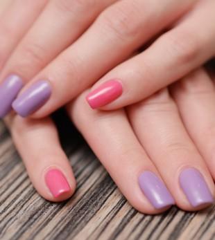 Bright color manicure