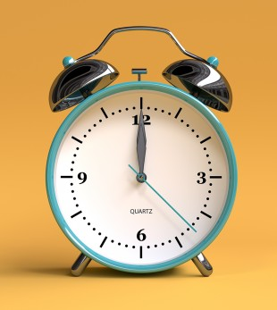 old alarm clock on yellow background - 12 o'clock - 3d illustration rendering